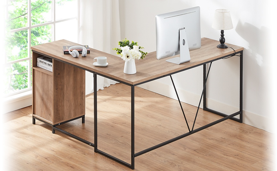 HSH L Shaped Computer Desk, Metal and Wood Rustic  Writing  Table with  Drawer Storage for Home