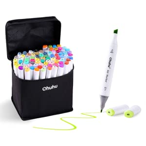 Ohuhu Marker Pen Set 160 Colors Alcohol Marker with Carrying Case Japan