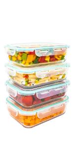Boîtes Alimentaires en Verre. Récipient Hermétique de Conservation pour Micro-Ondes et Congélateur.