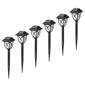 6 pack solar pathway garden stake lights decor
