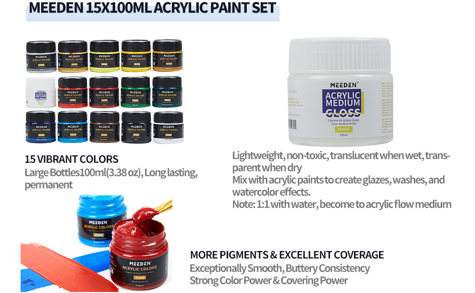15x100 colors paint set,acrylic medium closs,excellent coverage