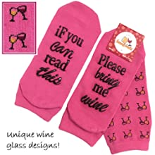wine socks nonslip bring me wine if you can read this pink