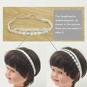 white cotton lace flower headband