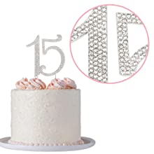 15 cake topper quinceañera birthday silver decoration 15th party toppers fifteen rhinestone for girl