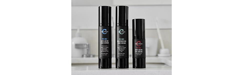 challenger face serum, moisturizer cream, eye cream