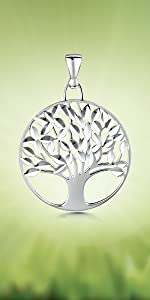 Amberta 925 Sterling Silver - Tree of Life Pendant Wishing Tree of Life
