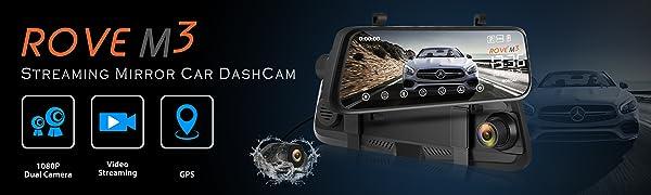 Rove M3 Streaming Mirror Car Dashboard Camera, Dual View 9.66 Inch Touch Screen Monitor Dash Cam
