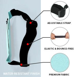 Adjustable strap; Elastic amp; bounce-free; Premium fabric