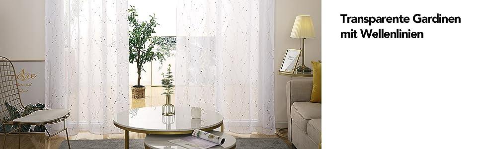 138x140 Stoff Deconovo Voile Vorh/änge Wohnzimmer /Ösenschal Transparent 138x140 cm Wei/ß Feder 2er Set