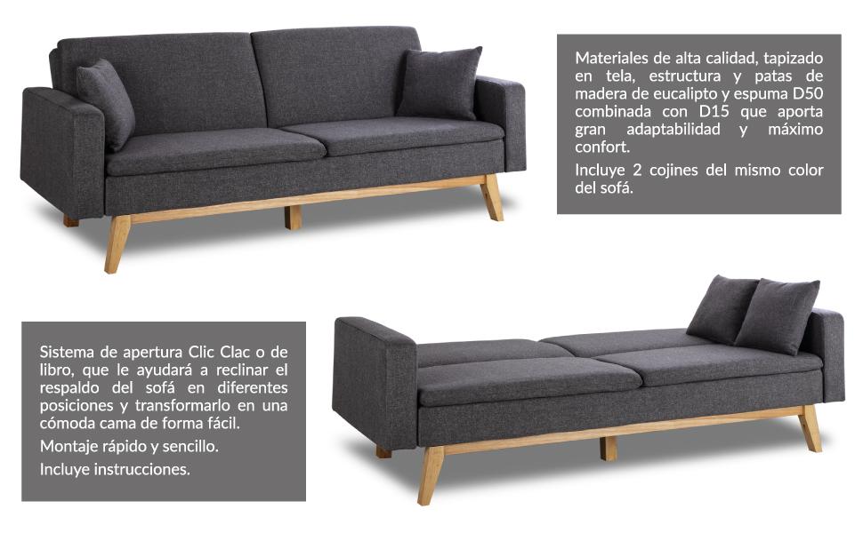 Don Descanso, Sofá Cama 3 plazas Reine, Tapizado en Tela, Color Gris Marengo, Sistema Apertura de Libro o Clic-clac, Medida sofá: 206x74x83 cm, Medida ...