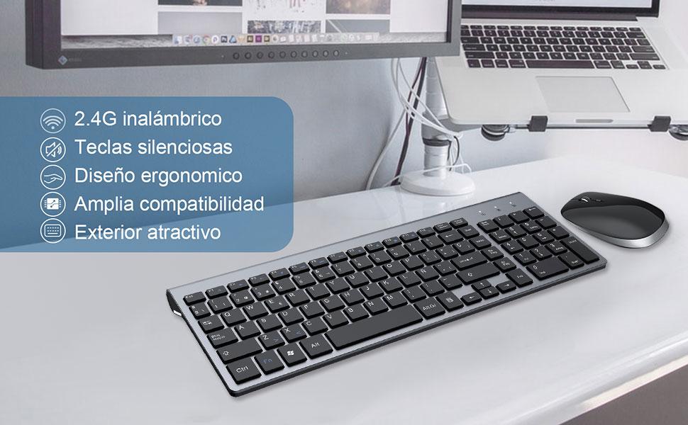 FENIFOX Teclado Inalámbrico y Mouse,diseño ergonómico 2,4 G Teclado inalámbrico y ratón Combinado con Nano Receptor USB para PC de Escritorio, Mac OS ...