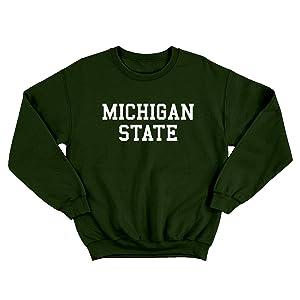 UGP Campus Apparel NCAA Basic Block Adult Crewneck Sweatshirt Michigan State Spartans Forest Green