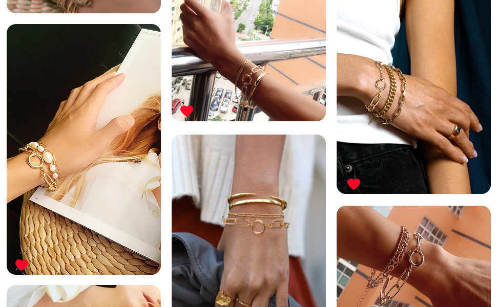 14k Gold Plated Paperclip Chain Bracelet Costume Jewelry Gold Link Bracelets for Women Ladies Girls