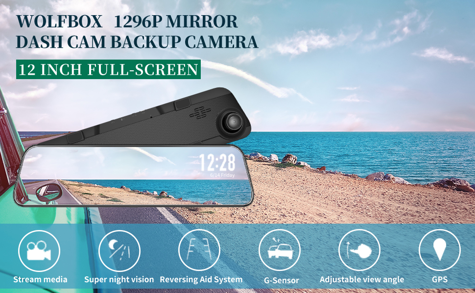 """LDWS Night Vision Sony Sensor,Front and Rear View Dual Lens Parking Assistance WOLFBOX 12/"""" Mirror Dash Cam Backup Camera,1296P Full HD Smart Rearview Mirror for Cars Free 32GB Card /& GPS"""