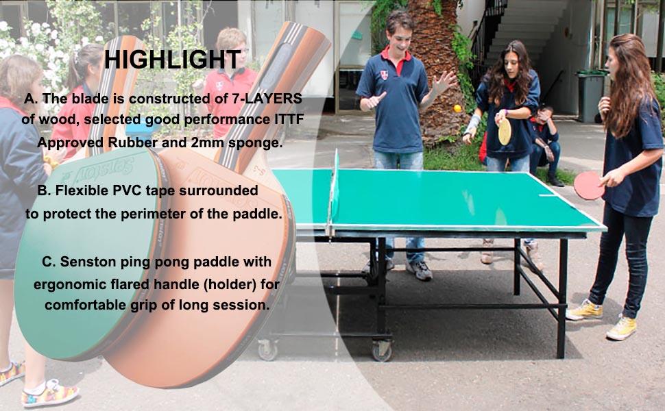 Senston Ping Pong Paddles Set | 2 Ping Pong Rackets | High Performance | Table Tennis Racket Set