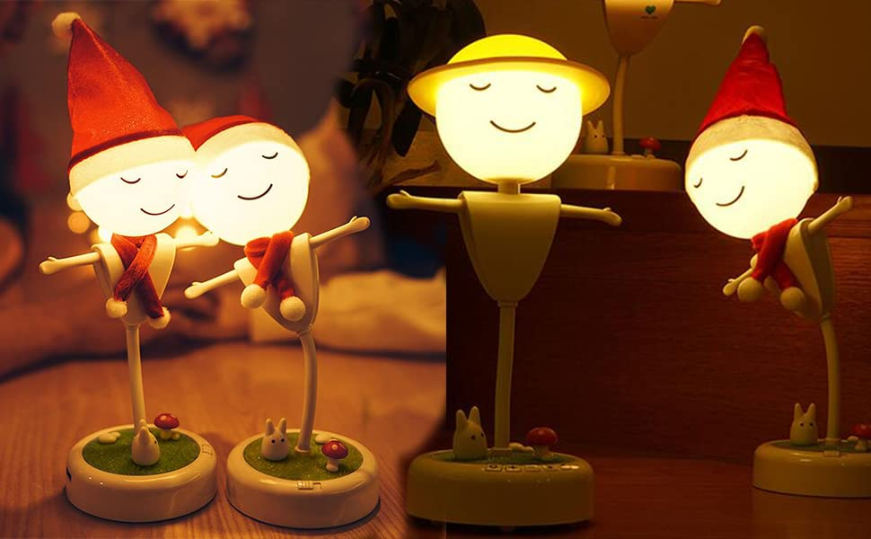 Veilleuse Enfant Rechargeable Petit Bonhomme Tactile,Lampe de Nuit Fonction de Temporisation Réglage de Luminosité pour Soirée Noël Cadeaux Enfant
