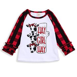 Cow Clipart T-Shirt Kids Girls Short Sleeve Ruffles Shirt Tee Jersey for 2-6T
