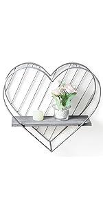 grey heart wall shelf