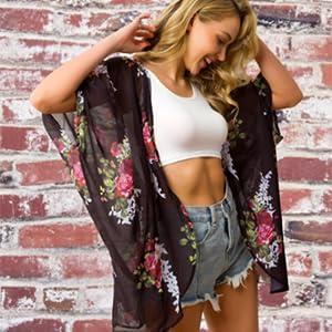 Traleubie Womens Beach Cover Up Floral Print Chiffon Summer Swimwear Kimono Cardigan