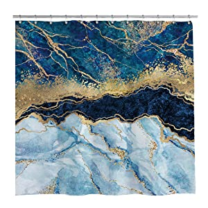 Marble Shower Curtain Navy Blue Mixed Golden Cracked Lines Pattern Texture Bathroom Curtain