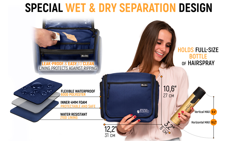 WATERPROOF inner lining hanging toiletry bag for men women functionality  travels, holidays trips