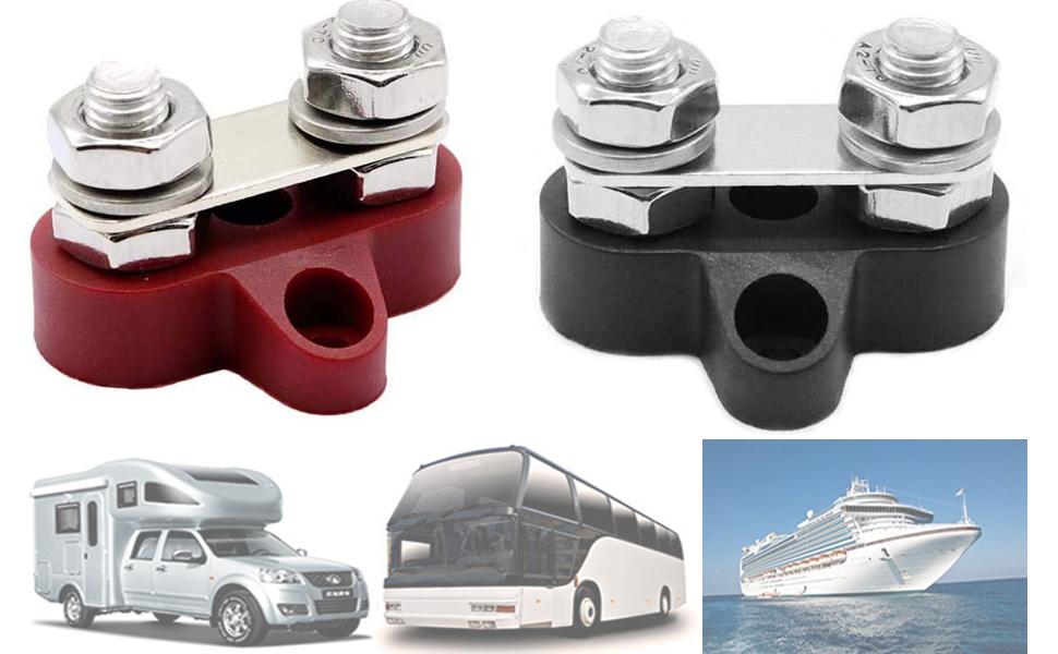 6 Gang Dual Terminal Power Junction Block Positive Negative Bus Bar for Boat RV