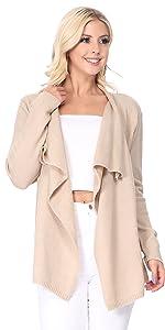 YEMAK Women's Long Sleeve Loose Fit Draped Open Front Casual Cardigan Sweater