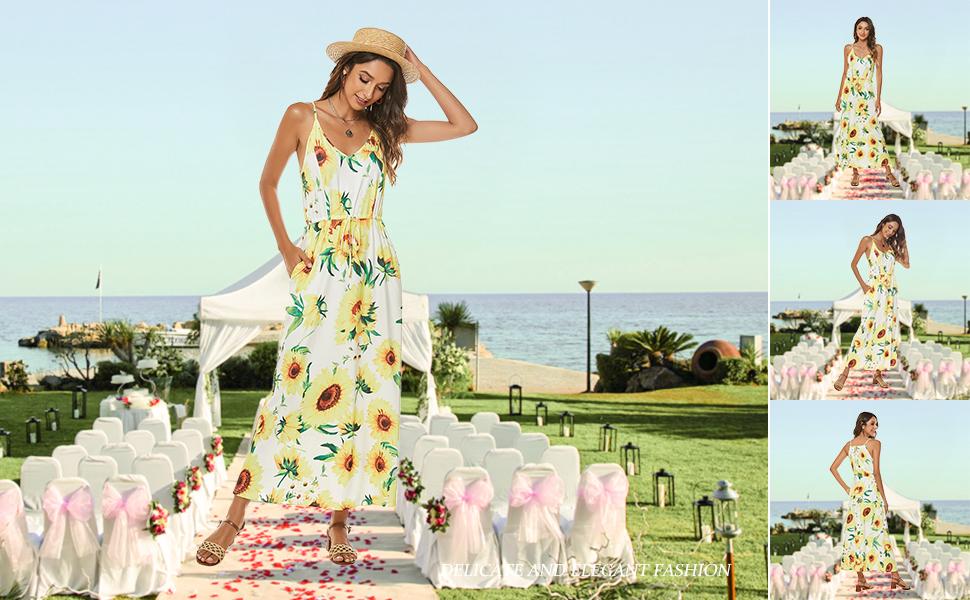 v neck sleeveless spaghetti strap adjustable drawstring pockets maxi boho summer beach casual dress