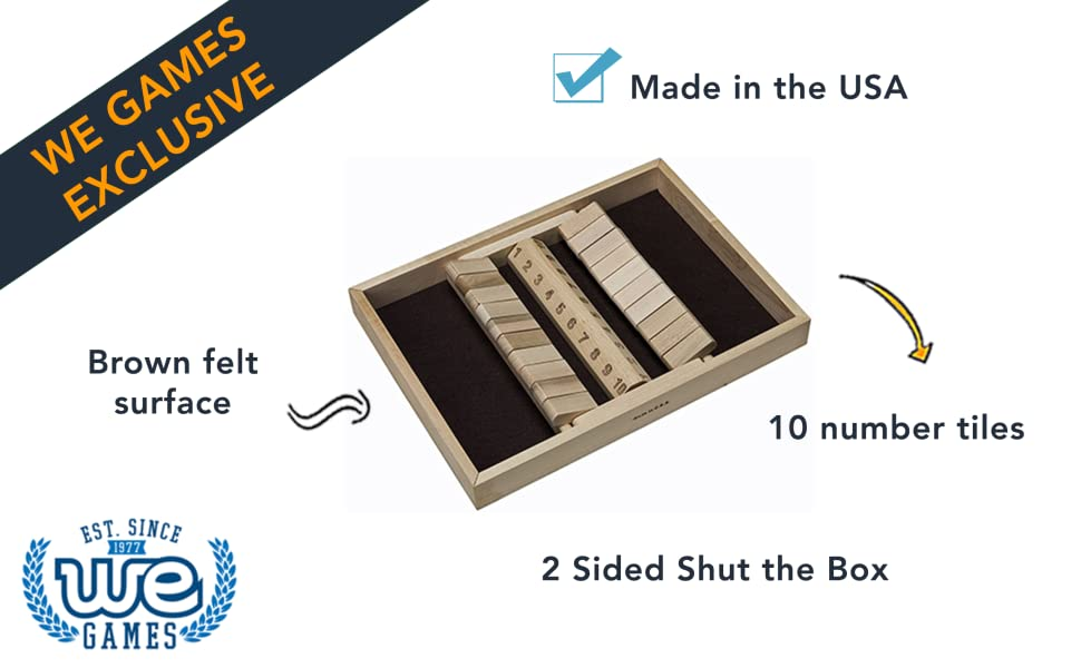 two sided two player wooden shut the box 10 numbers