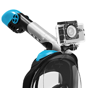 snorkel mask with action camera mount