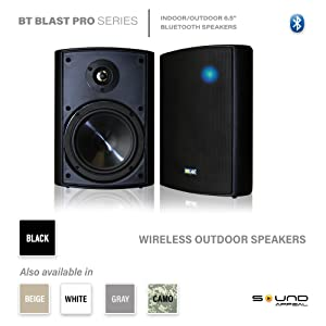 white bt blast wireless outdoor speakers white  Wireless Streaming 6.50″ Indoor/Outdoor Weatherproof Patio Speakers, Bluetooth Speaker (White – Pair) by Sound Appeal 72aace52 a224 421b 9d41 660d32c31916