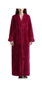 Fleece Robe Zipper Long Spa Bathrobe