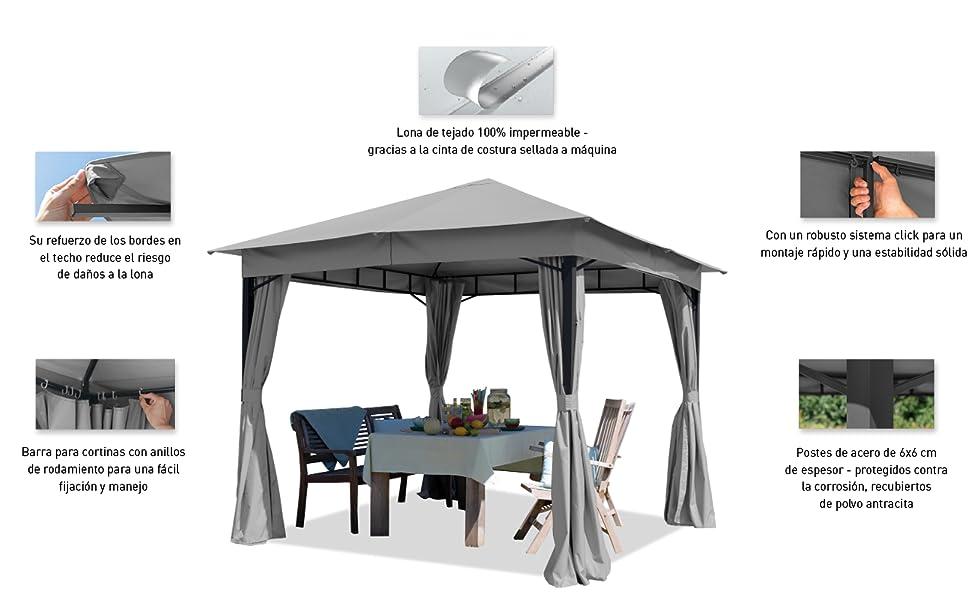 TOOLPORT Cenador de jardín 3x3m 180g/m² Lona de Techo pabellón ...