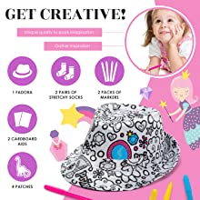 Color your own PRINCESS Girls Fedora amp; Socks,diy kid Craft Kits for girl
