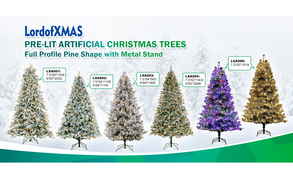 LordofXMAS Pre-lit Artificial Christmas Trees, Full Pine with Metal Stand.