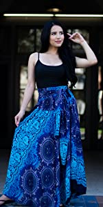 Belly Dance Skirt Gypsy Indian Sarees Women Hippie Harem Asymmetrical Pants Dress Witchy clothes