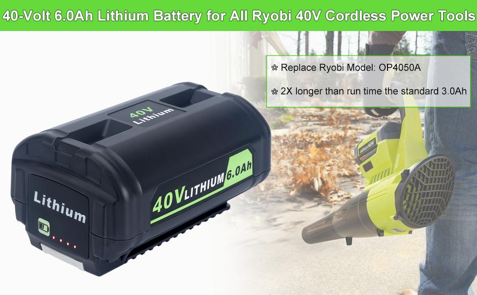 40v 6.0ah lithium battery for ryobi 40-volt cordless power tools