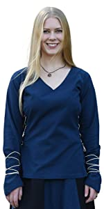 Mittelalter Bluse Hemd Damen vikings Karneval baumwolle frauen mittelalter kleidung wikingerin magd