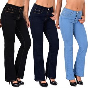 ESRA Damen Jeans Bootcut Jeanshose Schlaghose Damen Hüftjeans Hüfthose bis Übergröße AA