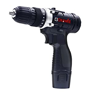 "3/8"" light weight 12 V cordless battery powered compact drill driver 2 speed transmission carry case"