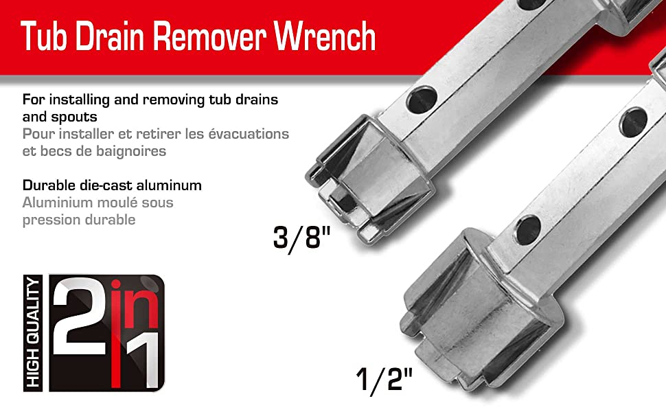Tub Drain Remover Wrench Aluminum Heavy Duty Pack of 1