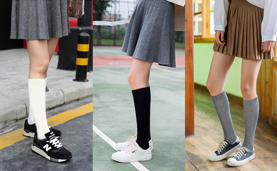 High Elasticity Girl Cotton Knee High Socks Uniform Blue Lake Hot Air Balloons Women Tube Socks