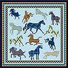petit carre de soie motif cheval chic cadeau couleur bleu