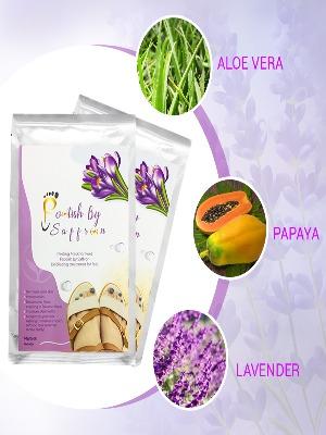 two packets showing botanicals: aloevera, papaya, lavendar