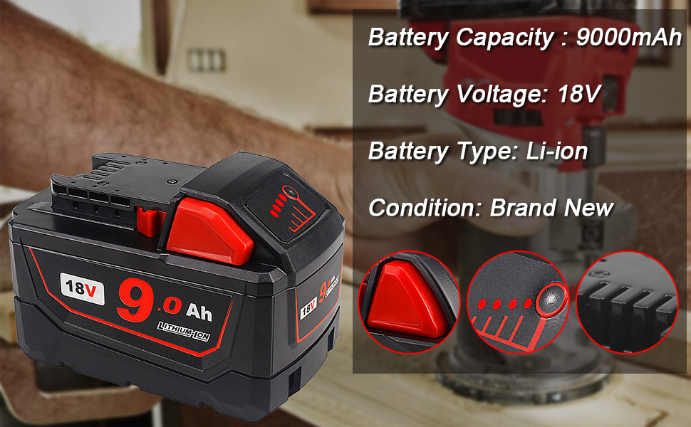 M18 battery 9.0-ah replacements for Milwaukee M18 18v cordless tools