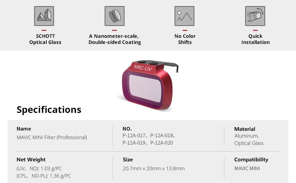 Professional Mavic Mini MRC M-UV Filter from PGYTECH