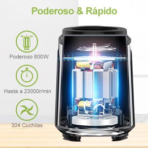 NWOUIIAY Batidora de Vaso 800W 23000RPM Batidoras Multifuncionales ...