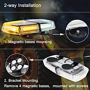 Strong Magnetic Emergency Strobe Amber LED Mini Light Bar WOWTOU 36W 12V 24V Roof Top Safety Flashing Hazard Warning Lightbar for Truck Snow Plow Tractor Construction Vehicle Pilot Car