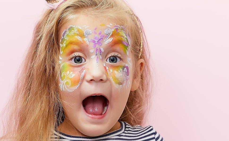 Fairy princess face paint dress up. pink purple green glitter stencil