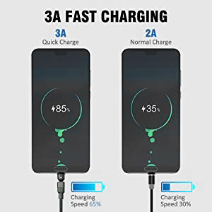 Nylon Braided Magnetic Cord Compatible with Type C Aralana 540/° Rotation 3.0A Charging Magnetic USB Cable Micro USB and iProduct Black 3 in 1 Magnetic Charging Cable 2-Pack, 6ft